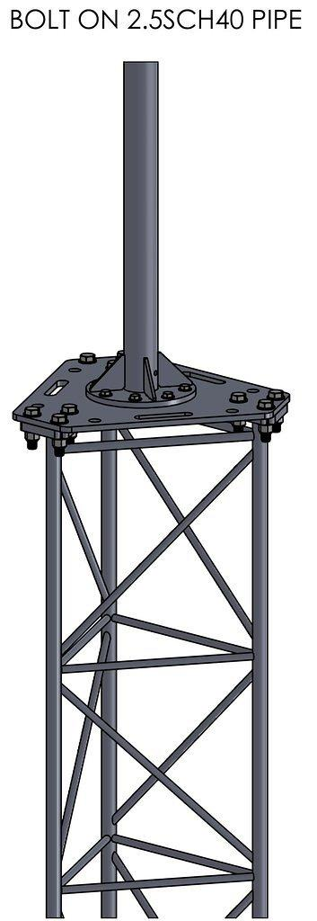APRS8005: APRS World's tower top plate for standard Bergey GL tower section and flange. Top mast (pictured) is not included.
