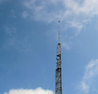 Wind Data Logger mounted to 70ft. mobile tower