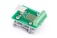 APRS6861: USB B Breakout Board to Screw Terminals with DIN Rail Clips