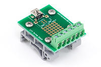 APRS6863: Mini USB Breakout Board to  Screw Terminals with DIN Rail Clips