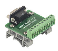 APRS6593: DB9 Female Breakout Board to Screw Terminals, DIN Rail Mountable