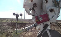 APRS World's #40HC anemometer (APRS6506) extends farthest off crane using a pivoting head mount (APRS7602) vs. unreliable factory supplied anemometer