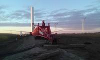 Crane boomed down